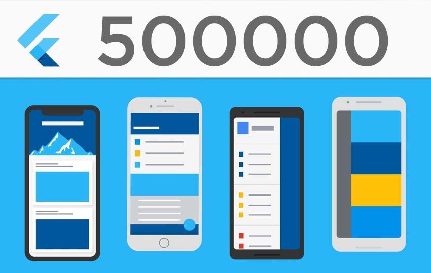 500000 desarrolladores usan Flutter mensualmente