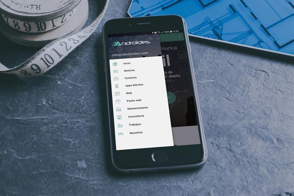 Menú lateral con textos, iconos, imágenes y funcionalidades predefinidas personalizables