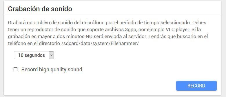 android lost grabacion sonido