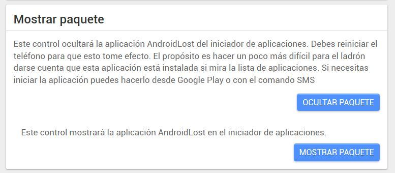 android lost mostrar paquete
